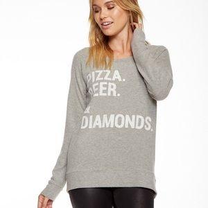 """NWT CHASER """" PIZZA, BEER, & DIAMONDS """" SWEATSHIRT"""